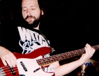 Playing Bass Guitar, late 90s